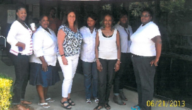 Staff pictured left to right are: Terri Jenkins, Licensing Manager; Georgeanna Lawson, Office Specialist; Stacie Conliffe, Program Director; Rebecca Zellars, FC TC, Patricia Funches, Administrative Assistant; Sandra Washington, FC TC; and Annjannette Turner, CANEI TC